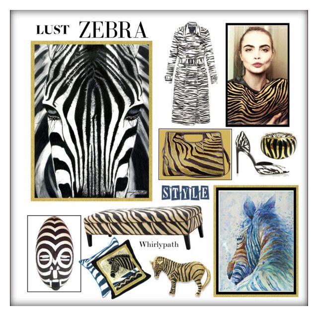 Lust Zebra! by whirlypath on Polyvore featuring interior, interiors, interior design, home, home decor, interior decorating, Eichholtz, Uttermost, NOVICA and Yves Saint Laurent