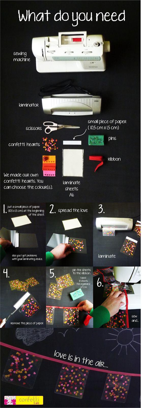 Slingers gemaakt van confetti en lamineerfolie.