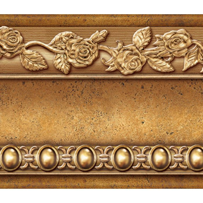 Flower Molding Peel And Stick Wall Border Easy To Apply Gold Brown Wall Borders Flower Molding Victorian Wall Decals