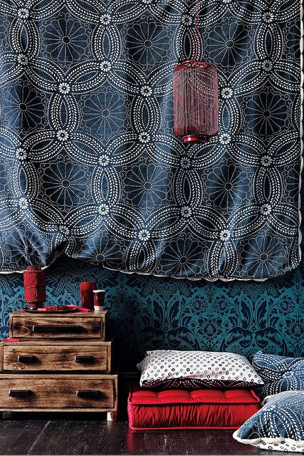 love the mix of colors and pattern: Colors Trends, Wall Hanging, Mixed Patterns, Blue, Oriental Style, Meditation Rooms, Floors Cushions, Moroccan Decor, Textile