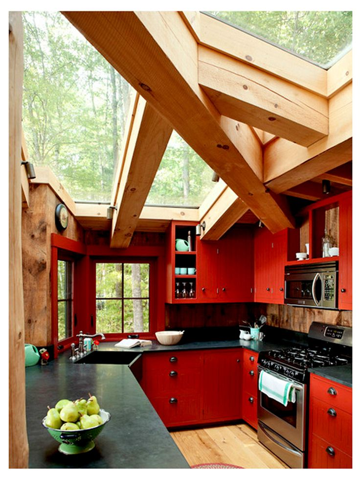 Small Kitchen Design | Mexican Style Kitchens - I love the red and the architecture of the ceiling in this photo.