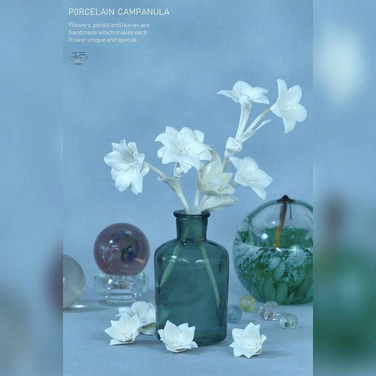 Fine white campanulas. Porcelain, firing 🔥 1240°C - #Handbuilt #ceramicflowers The name of the…»