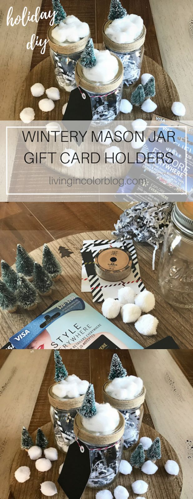 DIY Mason Jar Gift Card holders || How to wrap a gift card || creative gift card wrapping ideas || gift cards || @gcmall #ad   Easy Holiday craft || mason jar project || mason jars