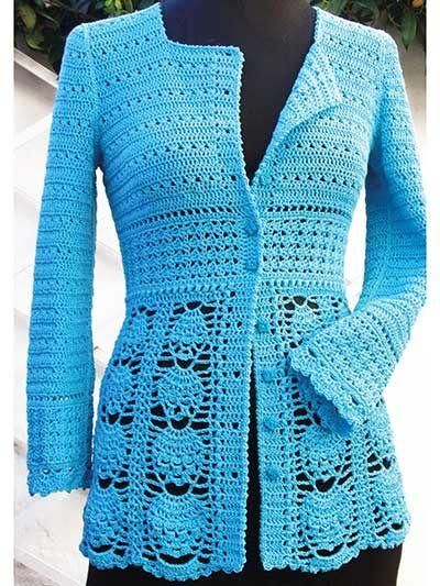 Blue Lace Jacket crochet pattern download from Annie's Craft Store. Order here: https://www.anniescatalog.com/detail.html?prod_id=125683&cat_id=24