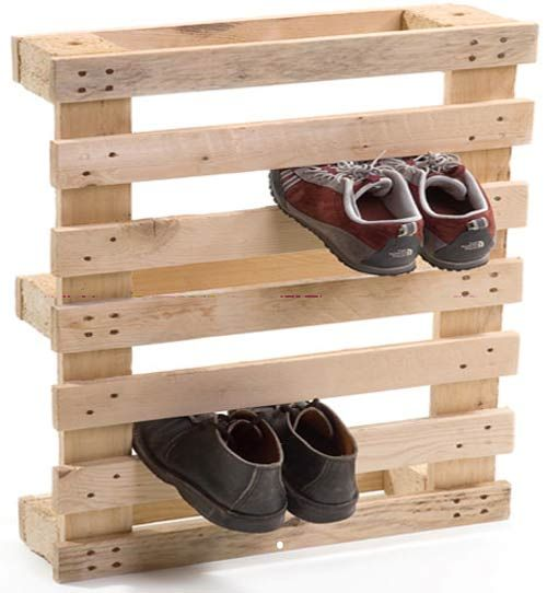 Shoe rack made from pallets.