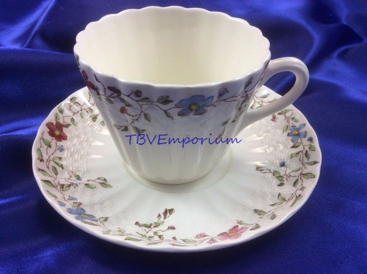 "Copeland Spode Wickerdale   3 1/4"" Tea Cup and Saucer 5"" Excellent #Spode"