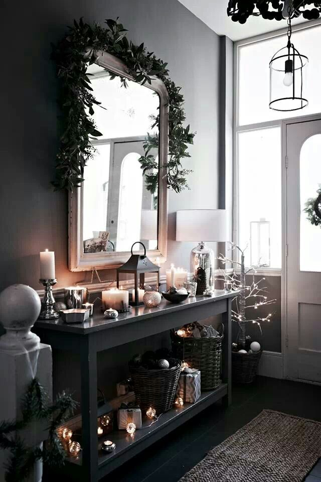 The white company...amazing Modern Country hallway  #lights #mirror #white #black #interiordesign #christmas
