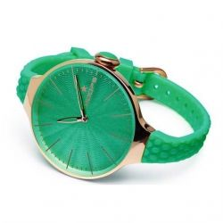 Hoops Cherie L Rose Gold Case Green Rubber strap 2502LG22