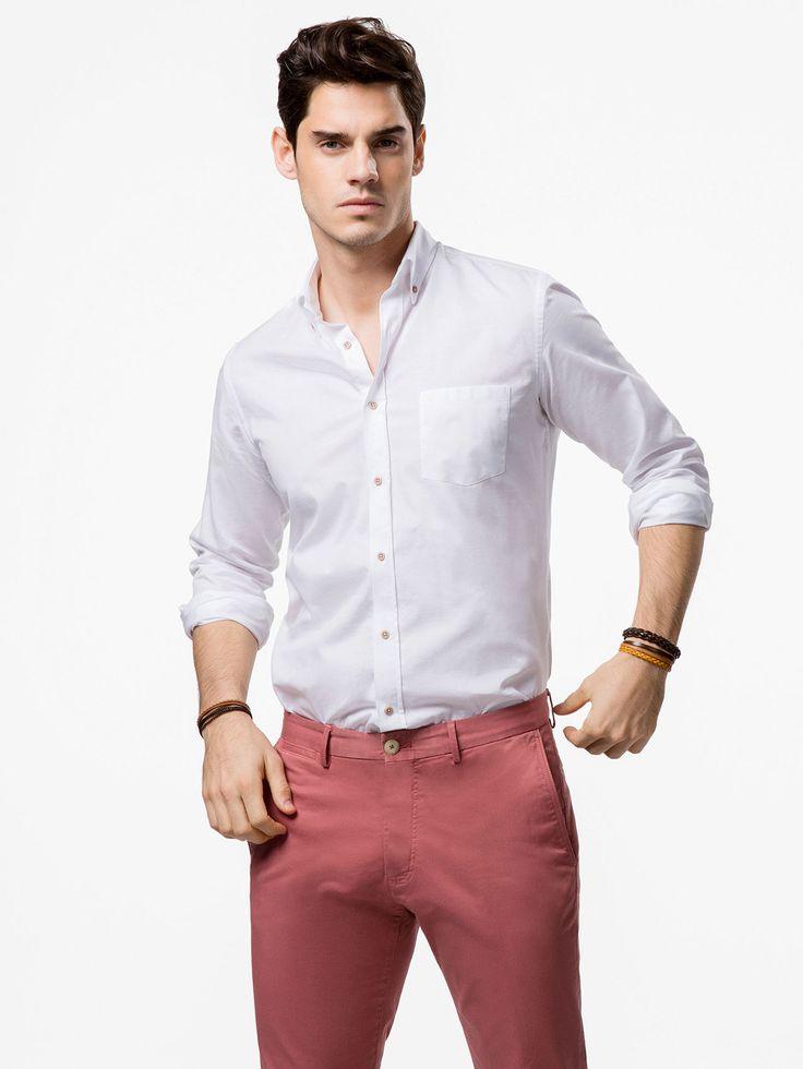 CAMICIA TESTURIZZATA con pantalone colorato. CAmicia regular fit   regular fit shirt with colored pants
