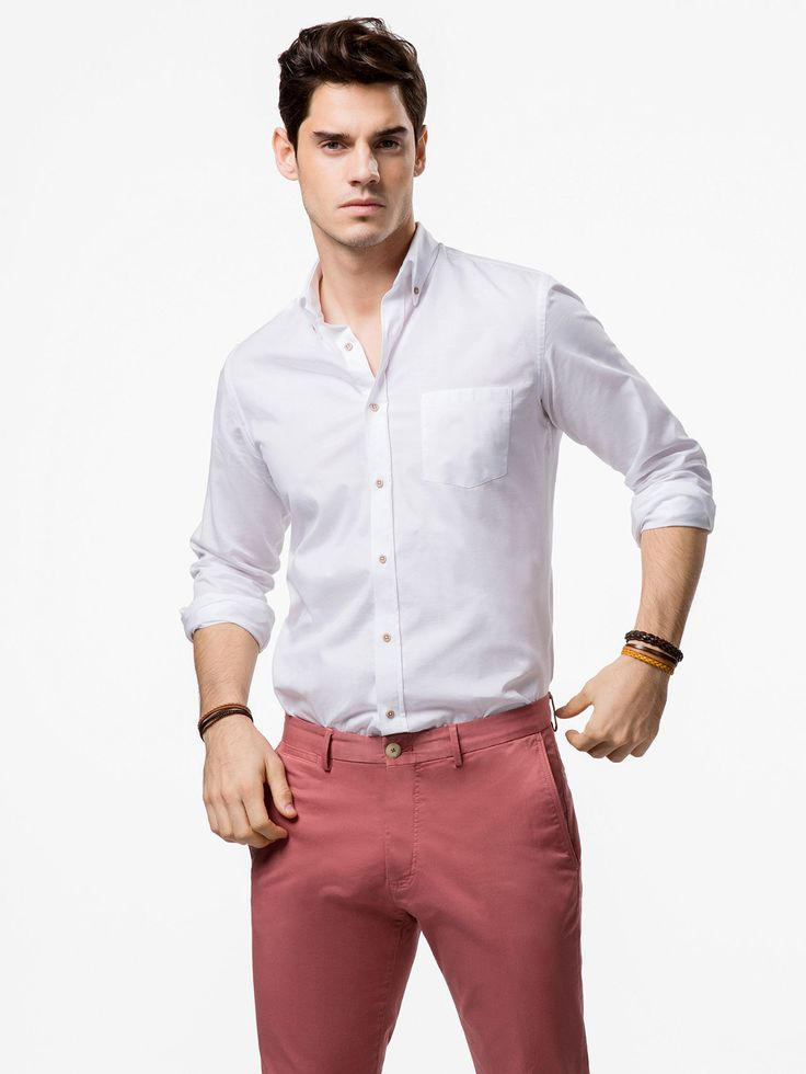 CAMICIA TESTURIZZATA con pantalone colorato. CAmicia regular fit   regular fit shirt with colored pants
