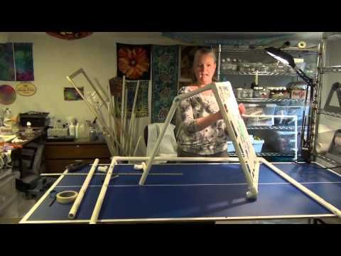 Making PVC Frame-Silk Painting Part 1 - Last part starts showing how she uses masking tape!! & straight pins to secure silk to frame.  Good stuff.