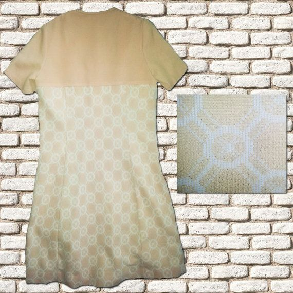 Coffee & White Textured Shift Dress by BessieMidge on Etsy, £20.00