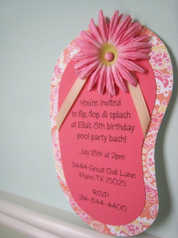 FlipFlop Party Invitation with Flower SAMPLE by PinkHeartsPaperie, $3.00