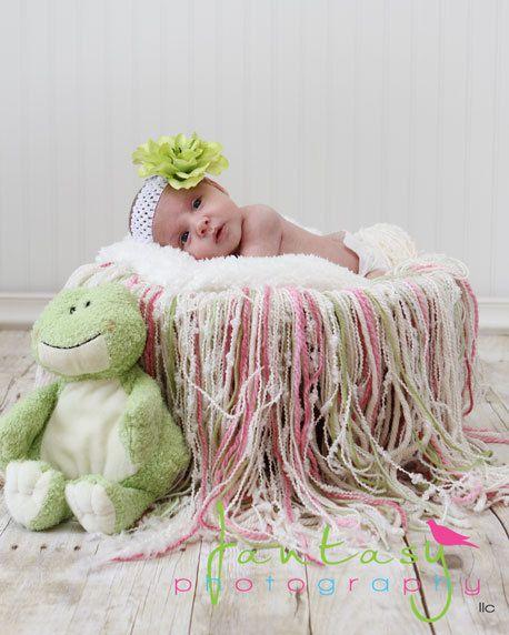 Handmade yarn fringe blanket baby newborn photography prop crochet pink cream green spring 40 00
