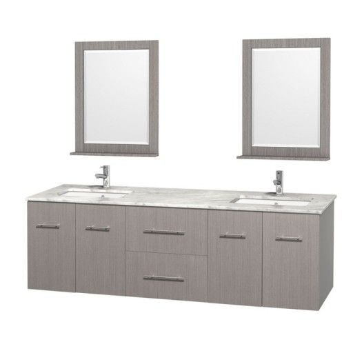 """Wyndham Collection Centra 72"""" Double Bathroom Vanity for Undermount Sinks - Gray Oak WC-WHE009-72-DBL-VAN-GRO-"""