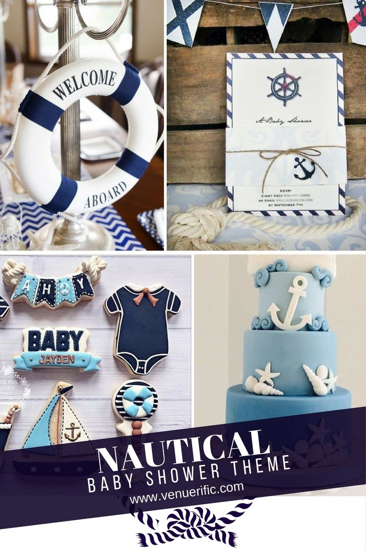 A dreamy nautical theme would be a great choice to welcome the baby. From anchors, seashells, ring buoys, ferry lights, ropes. You can use anything at home to create this simple, cute and fun theme for baby shower. Find more themes, ideas, inspirations in our blog at www.venuerific.com