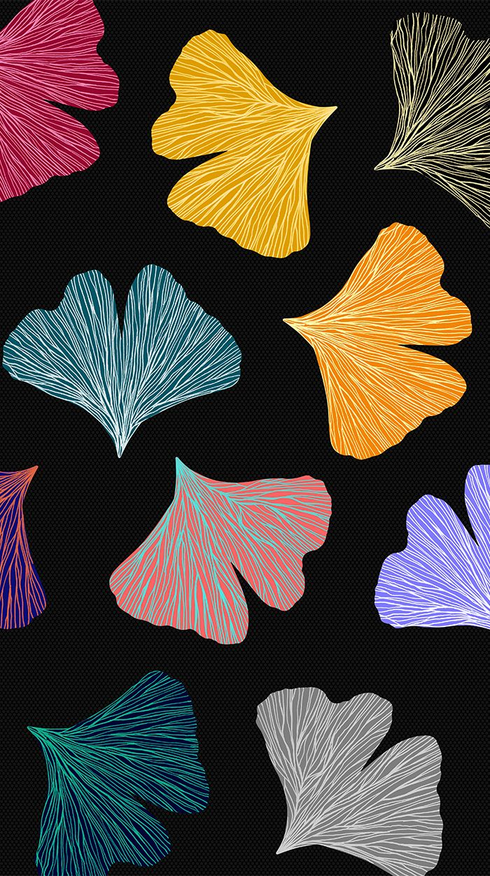 Gingko Biloba colorful fall pattern | @oozefina #ginko #biloba #pattern #leaf #leaves #color #golden #pink #fall