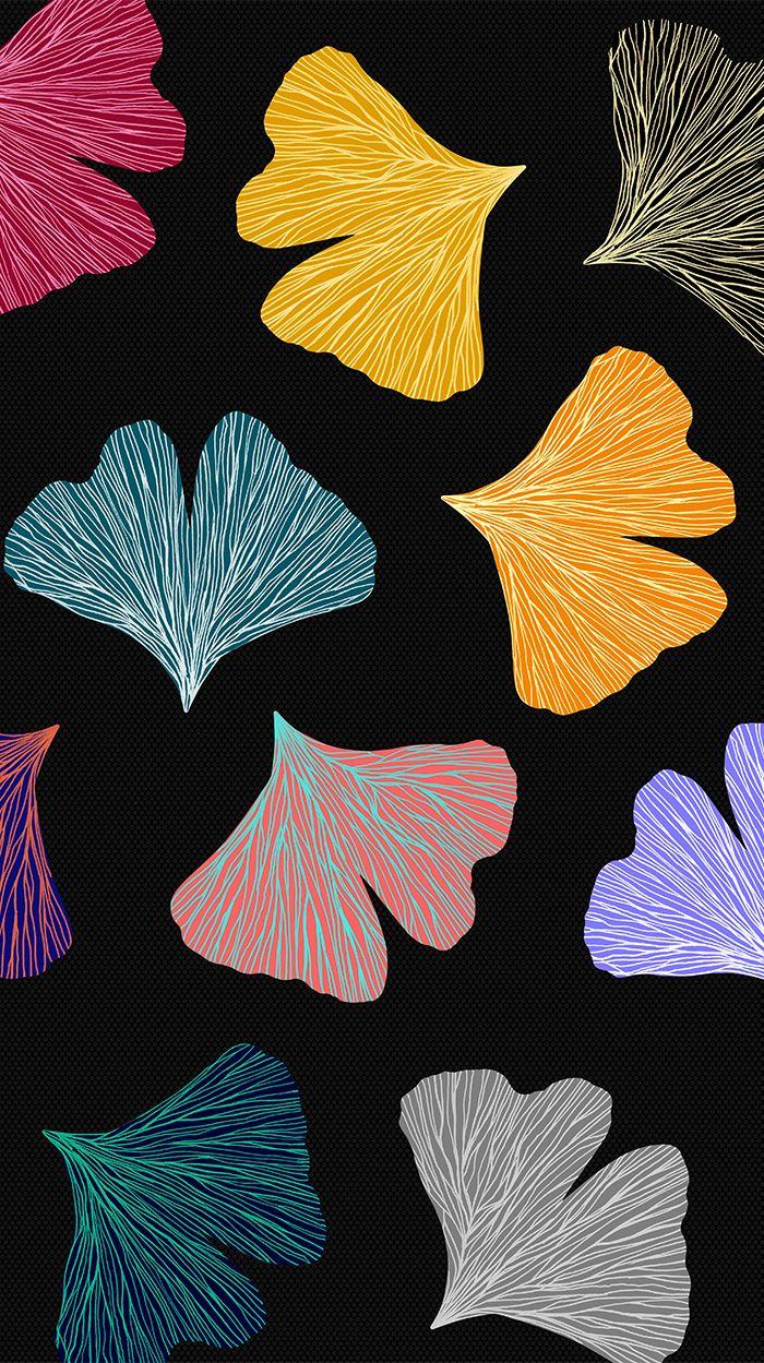 Gingko Biloba colorful fall pattern | @oozefina #ginko #biloba #pattern #leaf #leaves #color #golden #pink #fall