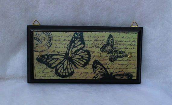 Black butterfly decoupage key rack
