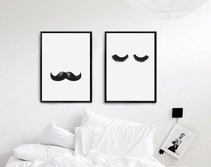 Herr Und Frau Wimpern Schnurrbarte Druck Ihr Poster Schlafzimmer