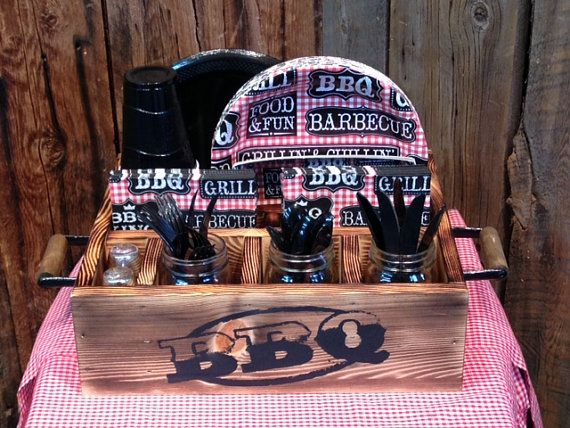 Back yard barbecue tableware party decor utensil holder, napkin holder, paper plate holder, party supplies or grilling gift idea