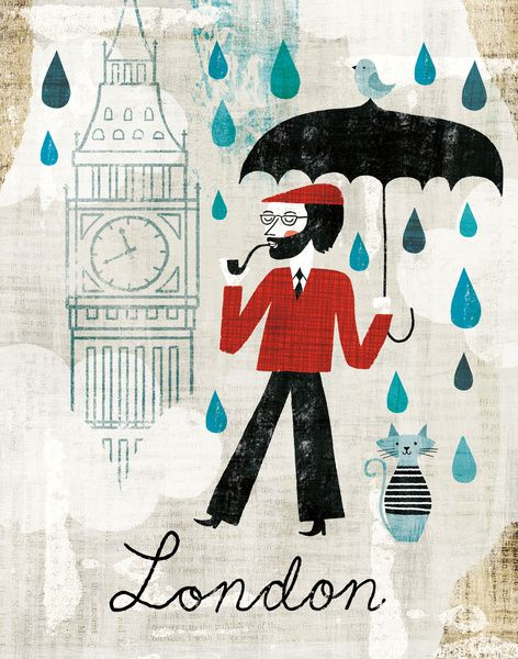 Rainy Day in London Art Print