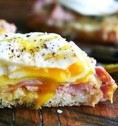 Recipe: A classic ham and cheese sandwich, with an egg on top.
