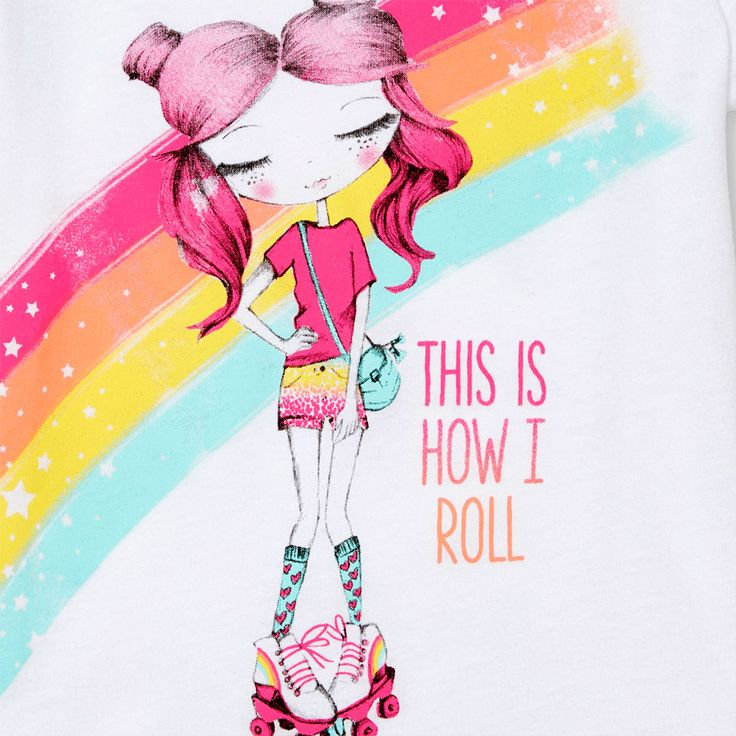 Toddler Girls Short Sleeve 'This Is How I Roll' Roller Skating Fashionista Graphic Tee