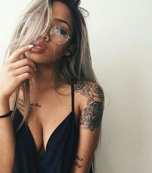 Image de girl, tattoo, and glasses                                                                                                                                                                                 More