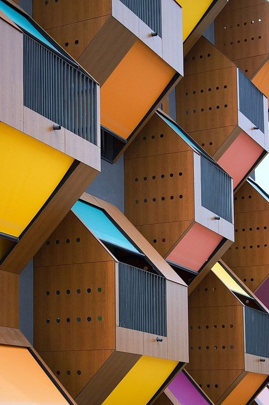 """""""these colorful honeycombs are the winning design entry for a low-income housing project along the izola bay in slovenia. the clever design also provides solar shading and natural ventelation."""" - via whorange"""