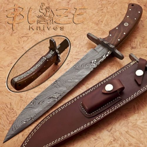 Hand-Made-By-Blaze-Knives-CUSTOM-DAMASCUS-BOWIE-KNIFE-BURL-WOOD-HANDLE-1161