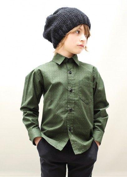 Hansel Shirt Green Long sleeves shirt in green with black print.  #motoreta #boys #lookbook #aw14 www.motoreta.es