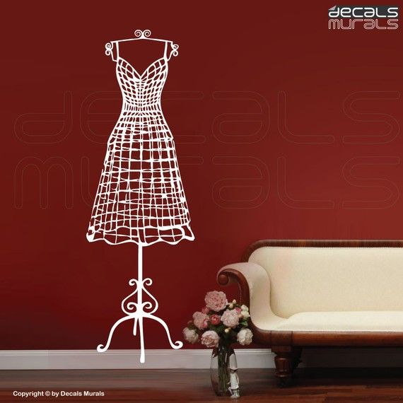 Wall decal WIRE DRESS FORM decorative mannequin - Interior decor by Decals Murals (20x60)