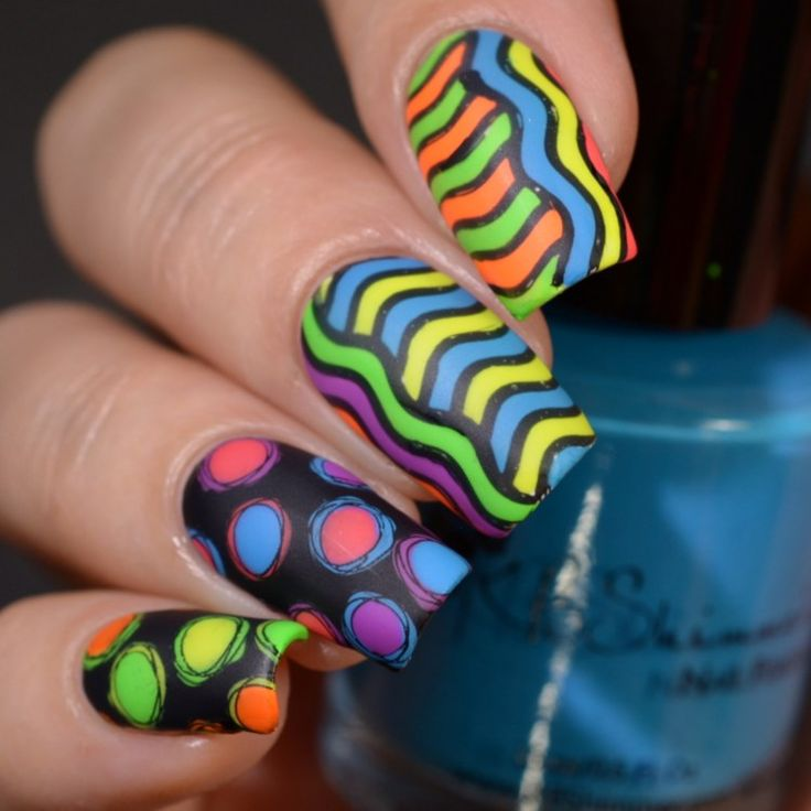 Powder Perfect Stamping Plates and Nail Art 1980s neon design