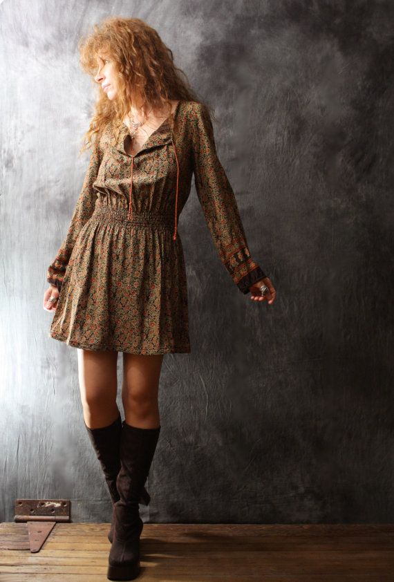 Vintage Dress 1960s Bohemian Hippie Poet