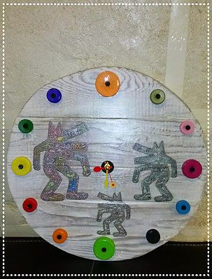 Orologio parete KEITH HARING,pallet,vintage,industrial,shabby,made in Italy!!!
