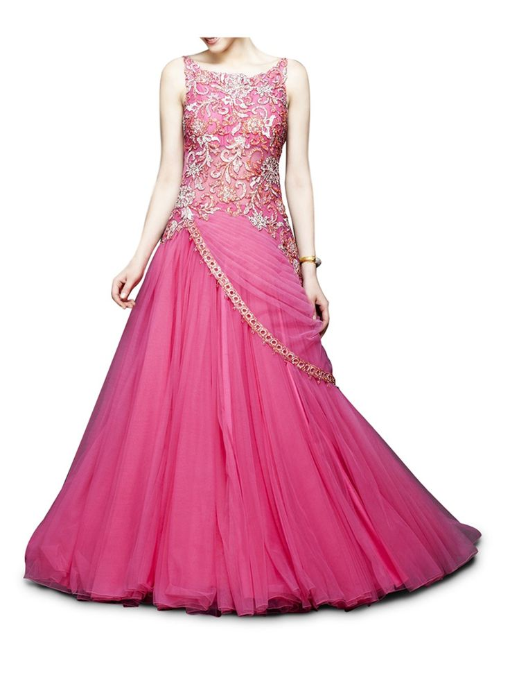 fuchsia pink gown