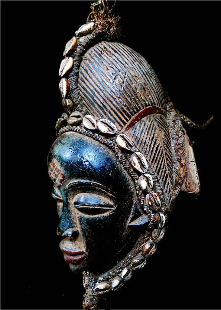Fine Tribal Unusual Punu Black Maiden Spirit H Mask With Cowrie-- Gabon BN 10 in Antiques, Ethnographic Antiques, African | eBay