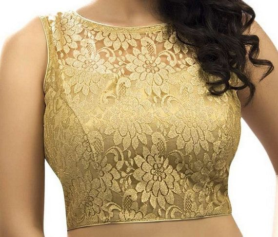 Designer Net Work Saree Blouse, Shiny Net Sleeveless Padded Sari Blouse, Indian Saree Blouse, Saree Top, Choli, Golden Color Blouse
