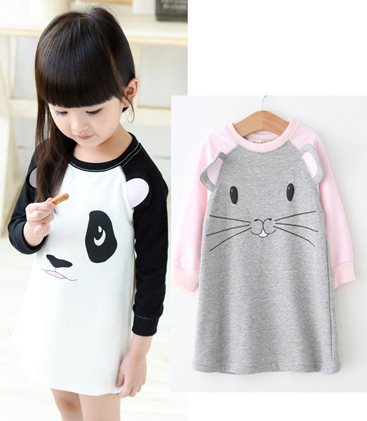 girls dress autumn 2016 new panda mouse Cartoon girl dresses 2016 autumn Long sleeve birthday dress for girl autumn kids clothes
