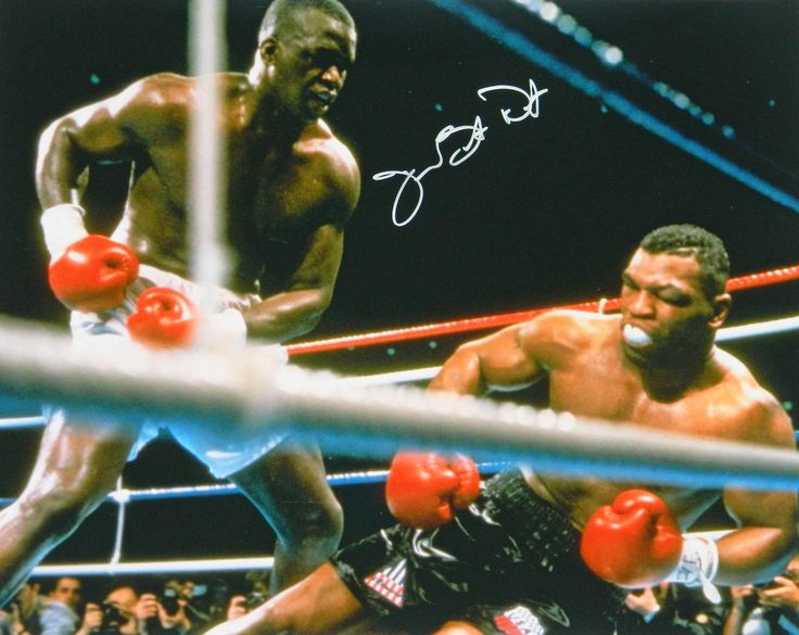 James Buster Douglas Signed Knocking Down Mike Tyson 16x20 Photo