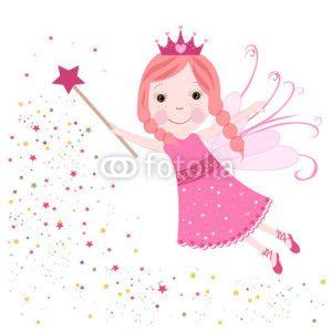 Peri Kızı Vektör Tasarımlarım * Cute fairytale pink stars shining vector