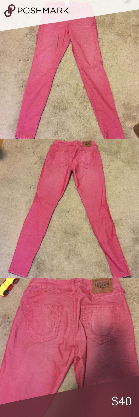 Size 25 True Religion Jeans Size 25, True Religion Skinny Jeans, Cotton, polyester and spandex material. Reddish/Burgundy color True Religion Jeans Skinny