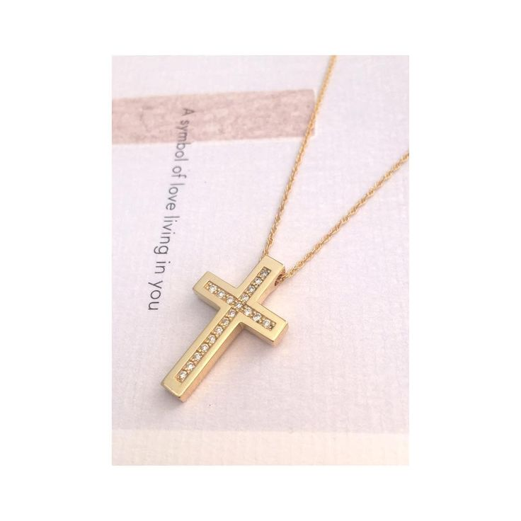 #ANMAjewellery #thecrosscollection #baptismcross #cross #yellowgold #diamondcross #goldcross #itsagirl #baptism #baptismday #orthodoxcross #minimal #classic #keepitsimple #finejewelry #designinspiration #always #faith • find it here 👉🏻 https://www.etsy.com/listing/521573005/diamond-yellow-gold-solid-cross-pendant