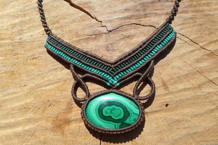 malachite necklace,macrame necklace,macrame pendant,macrame jewelry,malachite jewelry,macrame stone necklace,gift for her,green color,boho by ARTEAMANOetsy on Etsy