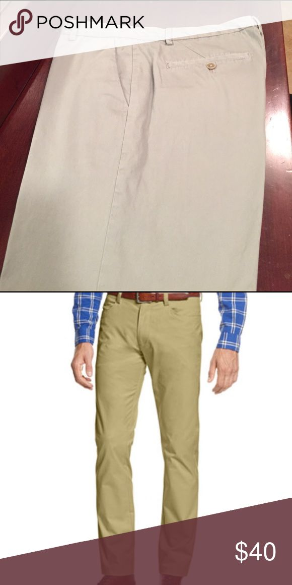 Men's Slim Fit Calvin Klein Flat Front Chinos Worn once washed twice. Dressy casual Slim Fit chinos in a sateen khaki color. 32/32 Calvin Klein Pants Chinos & Khakis