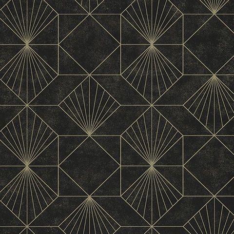 Halcyon Black Geometric Wallpaper