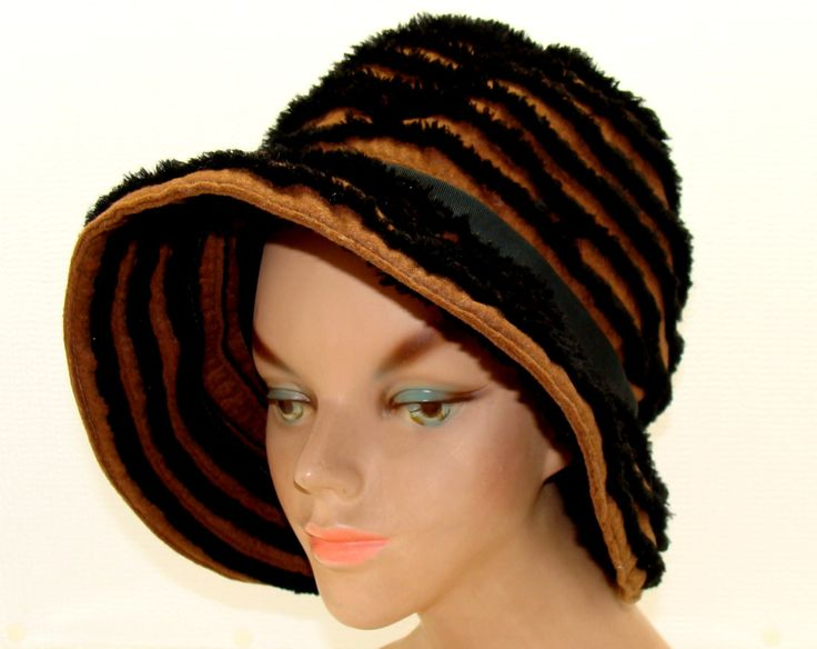 Vintage bucket hat-Old Mr. John Jr. hat-Brown black bucket hat-Black chenille hat-Old slouch hat-Vintage boho hippie hat-Floppy hat by BECKSRELICS on Etsy