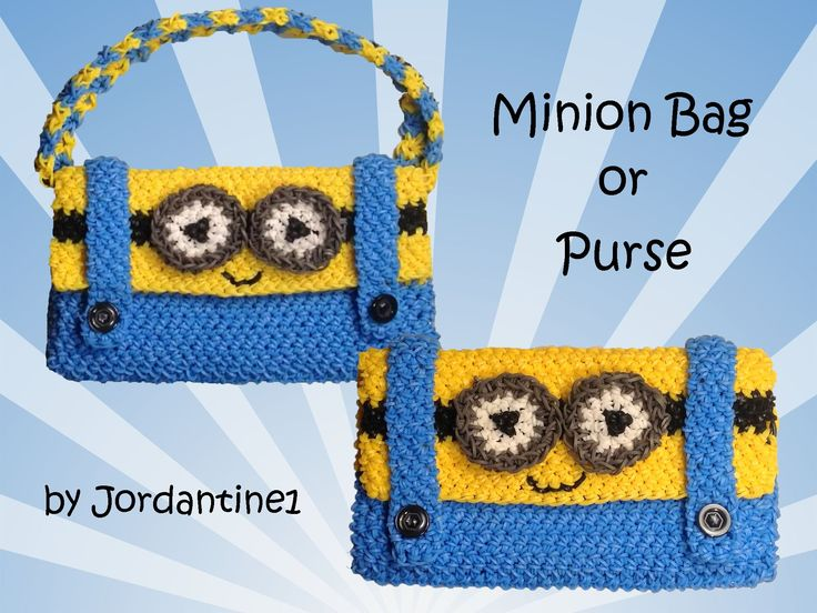 New Minion Bag / Purse / Pencil Case  - Loomigurumi - Rainbow Loom - Hoo...