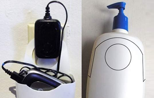 Diy make a cell phone charging station from an old bottle Charger cord organizer diy